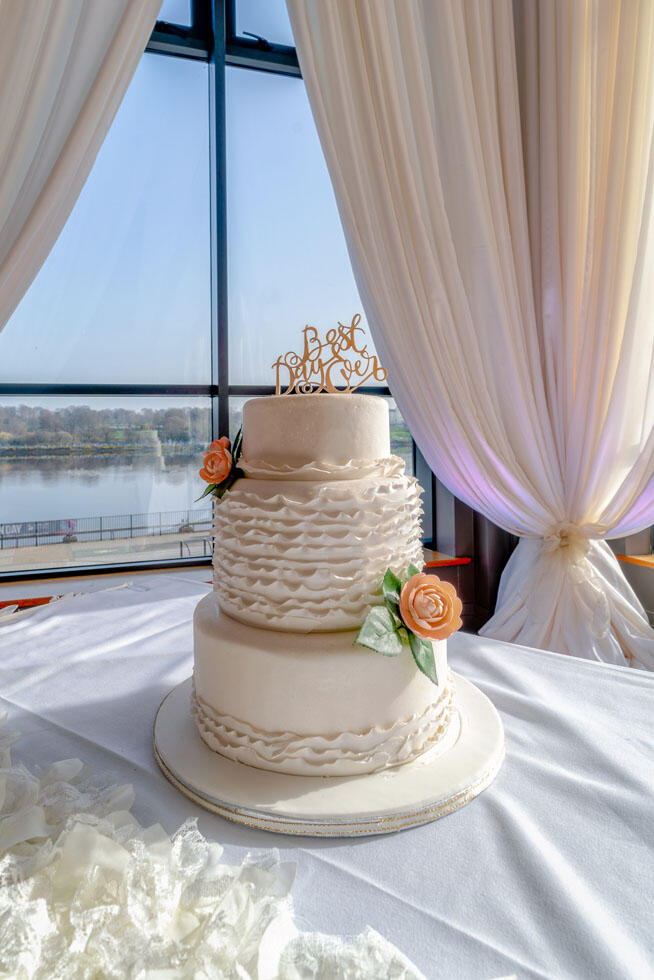 City Hotel Derry Ballroom Wedding Cake By Window With View Of Ri