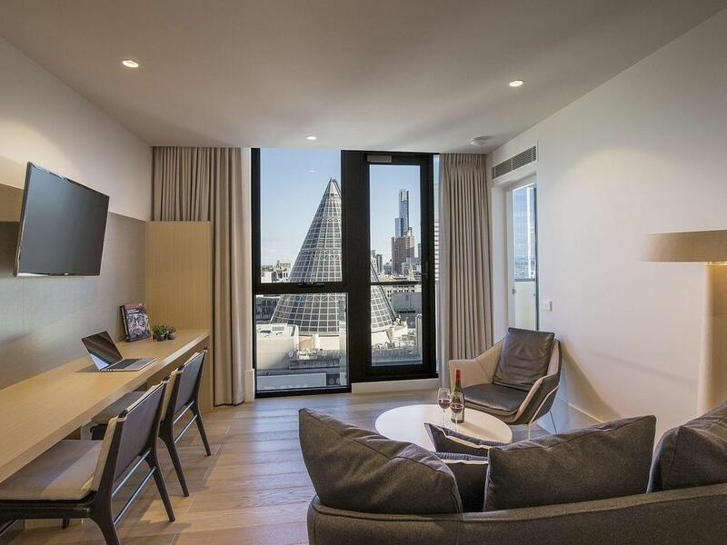 2 bedroom apartment lounge at Brady Hotels Central Melbourne