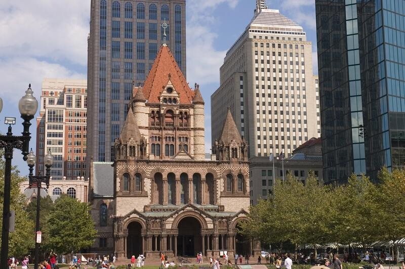 Copley Square Church building with skyscrapers behind