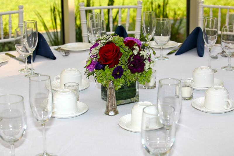 table set with flower centerpiece