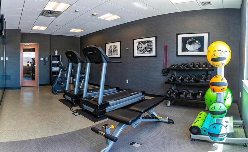 treadmills and exercise balls in a gym