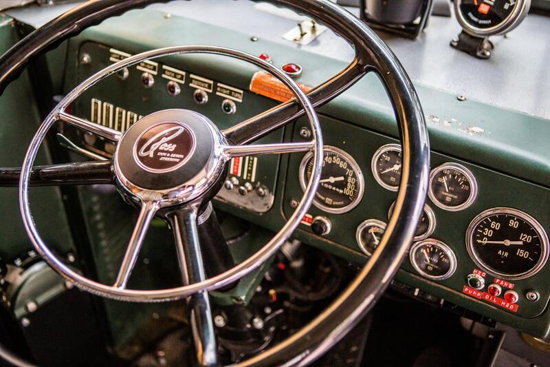 The Verb Bus steering wheel detail shot