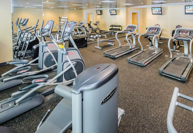 fitness room with rows of treadmills and elliptical machines