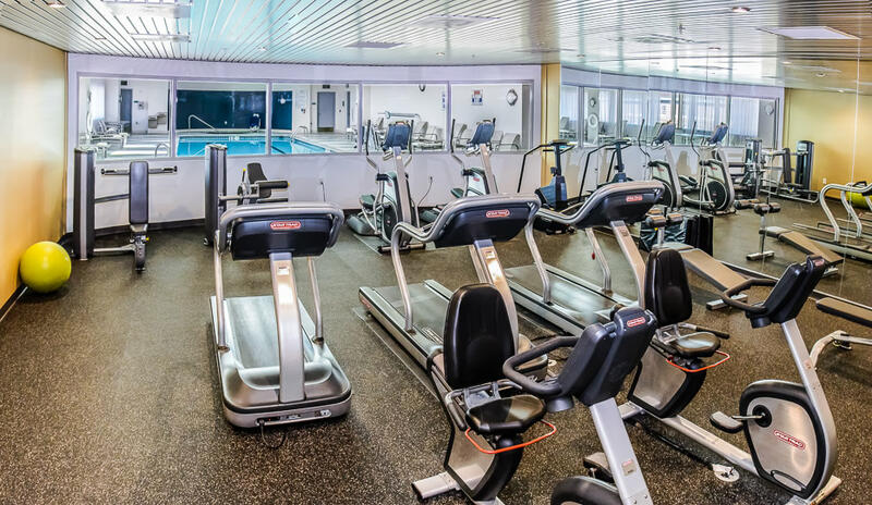 fitness room with rows of treadmills, elliptical machines and st