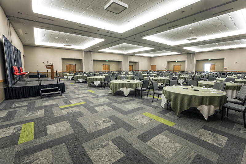 tables and chairs in a large room