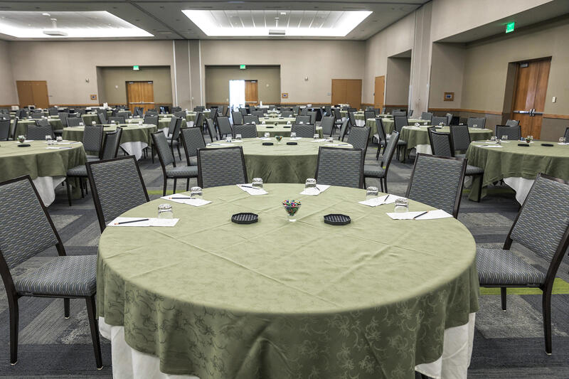 tables in a large conference room