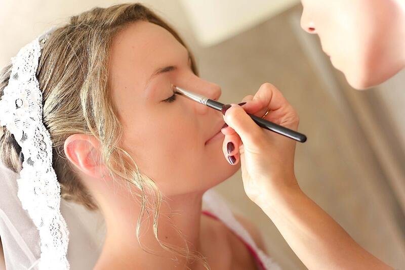 Bride-to-be getting makeup done.