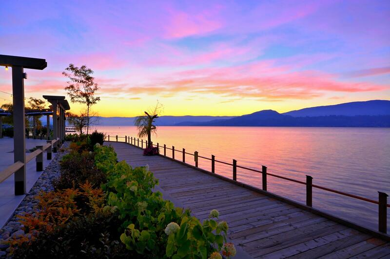 Sunset at a boardwalk over Okagawan Lake.