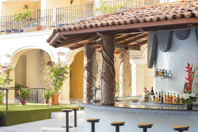 outdoor bar in courtyard