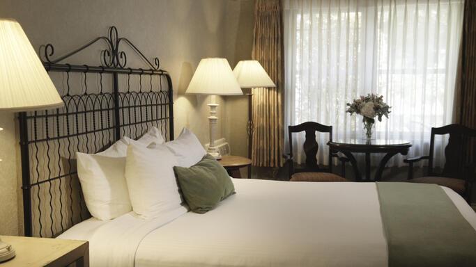 Bedroom in hotel suite.