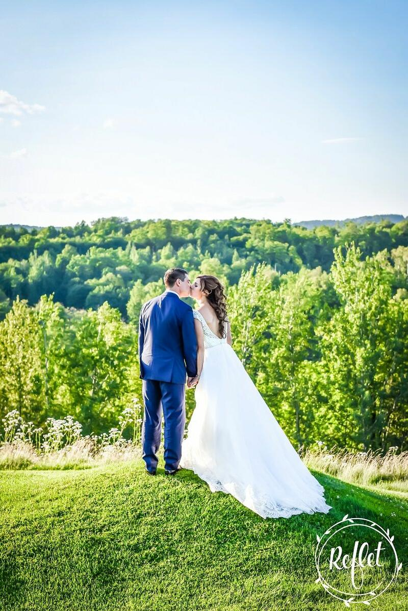 Bride and groom on a golf course