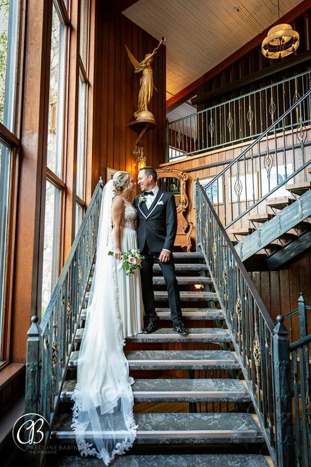 Bride and groom on a stair case