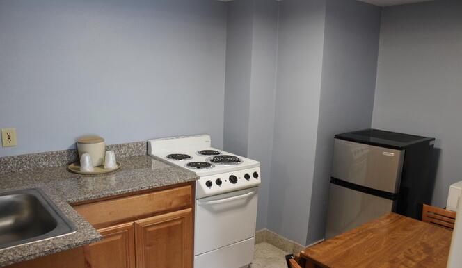 Kitchen Area in Efficiency Room