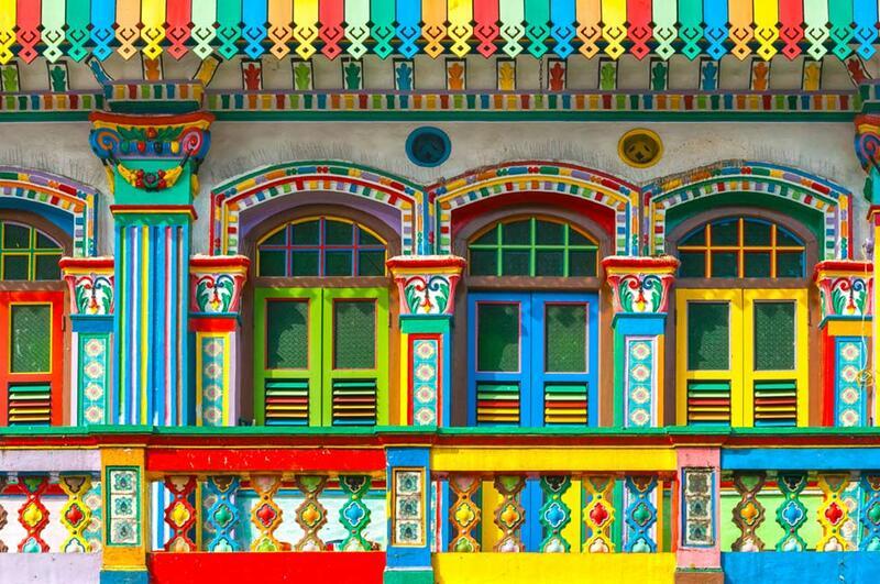 Colourful Shophouse Facade at Little India Singapore