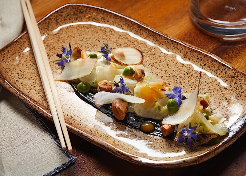 Plated sushi at RUKA