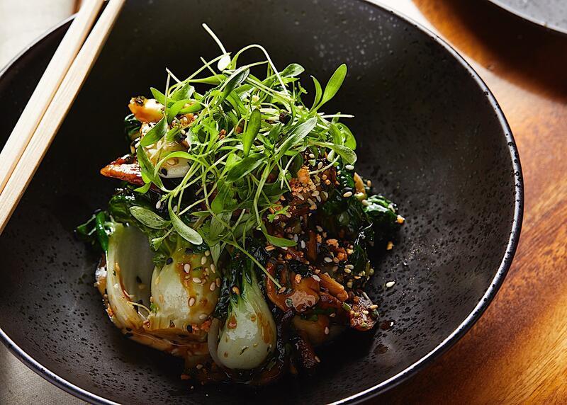 Plated vegetable entrée at RUKA