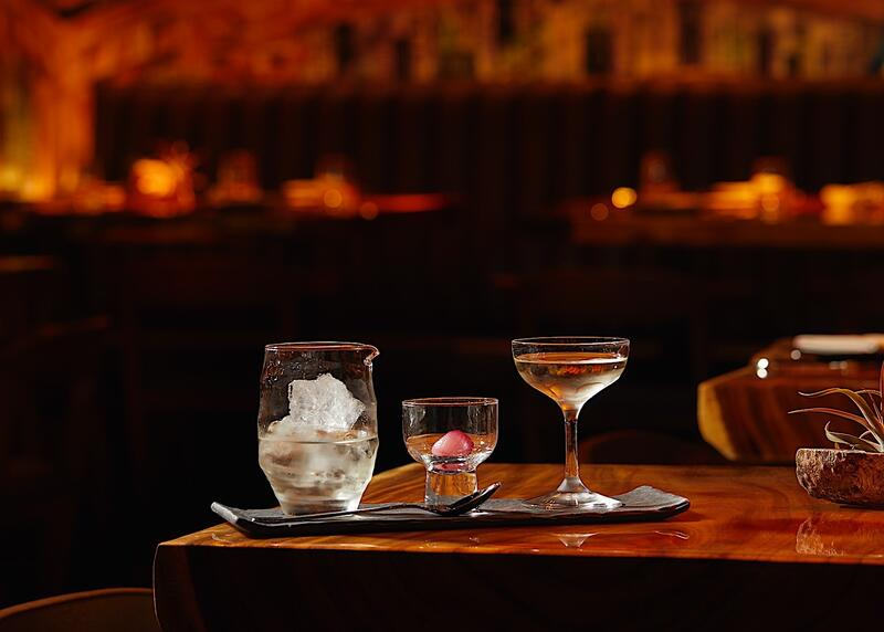 Trio of cocktails on the bar at RUKA