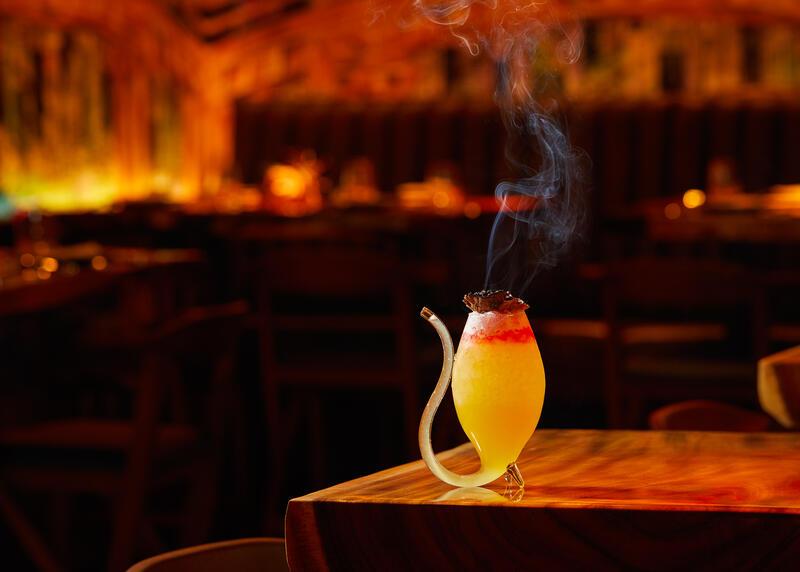 Smoking Cocktail on the bar at RUKA