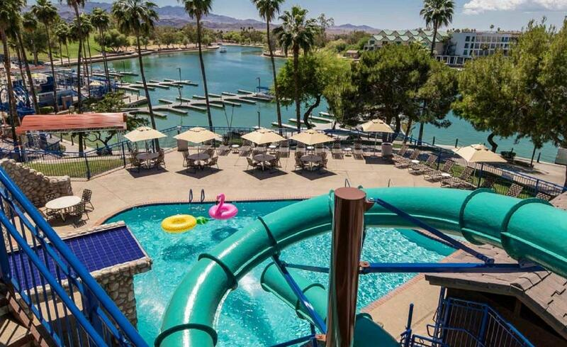 Water slide leading to a splash pool.