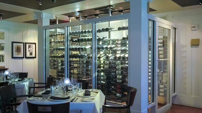 dining table near wine fridge