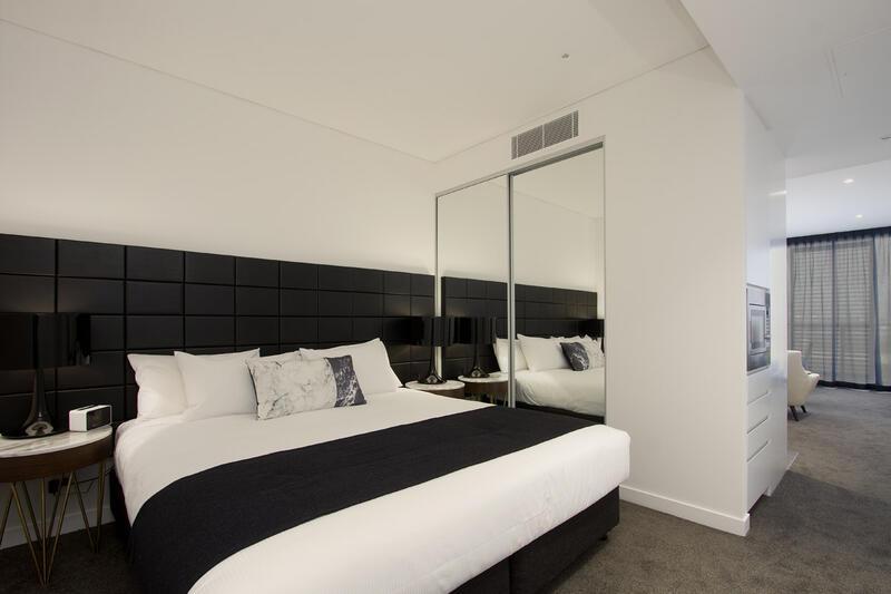 Bedroom of Balcony Studio at Silkari Suites at Chatswood