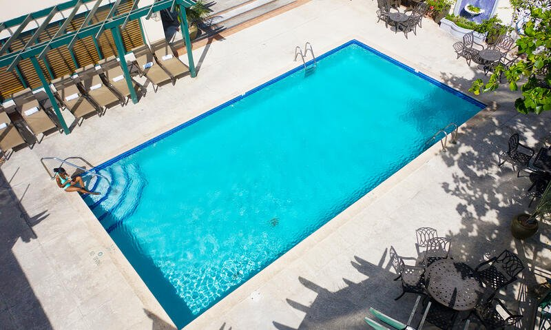 view of pool from sky