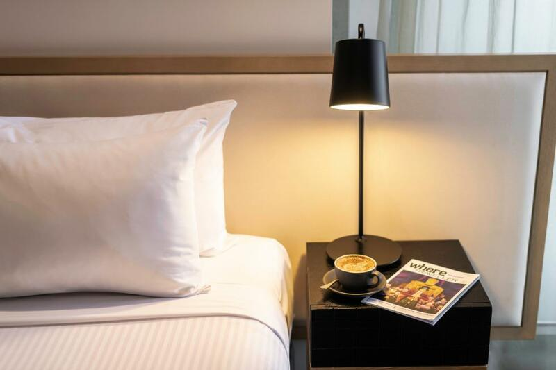 Brady Hotels Central Melbourne bedside table with coffee