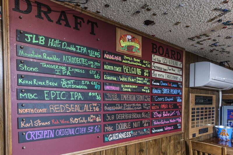 Draft board listing beer menu