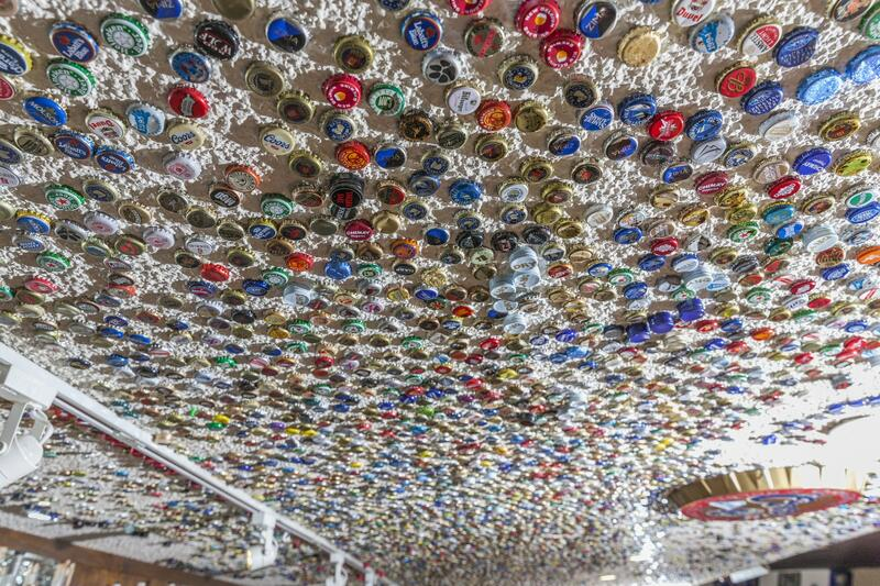 ceiling covered in beer bottle caps