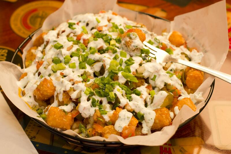 tater tots with white dressing