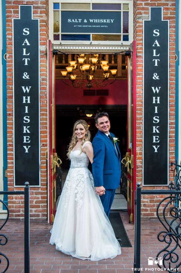 bride and groom at salt & whiskey