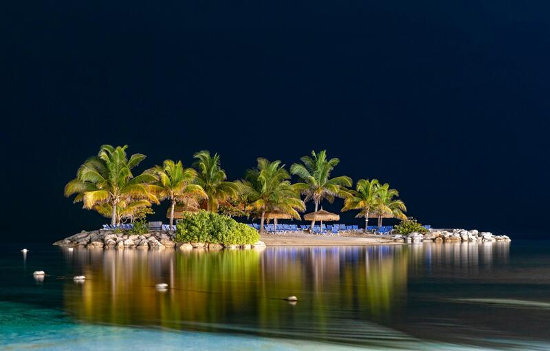 island lit up at night