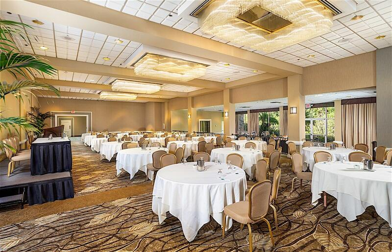 ballroom set with round tables and chairs