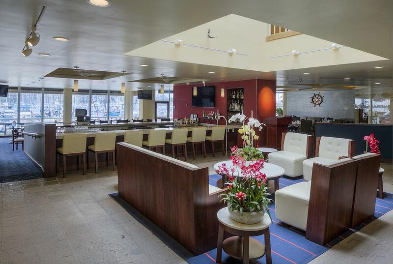 Open bar and lobby seating at a fine dining onsite restaurant