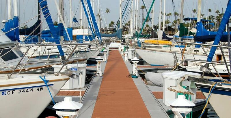 Boats docked at a hotel marina on the San Diego Bay