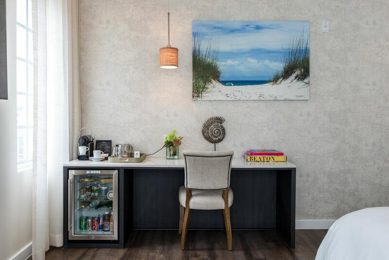 desk with ocean painting on wall