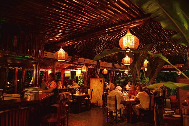 dim and romantic restaurant setting
