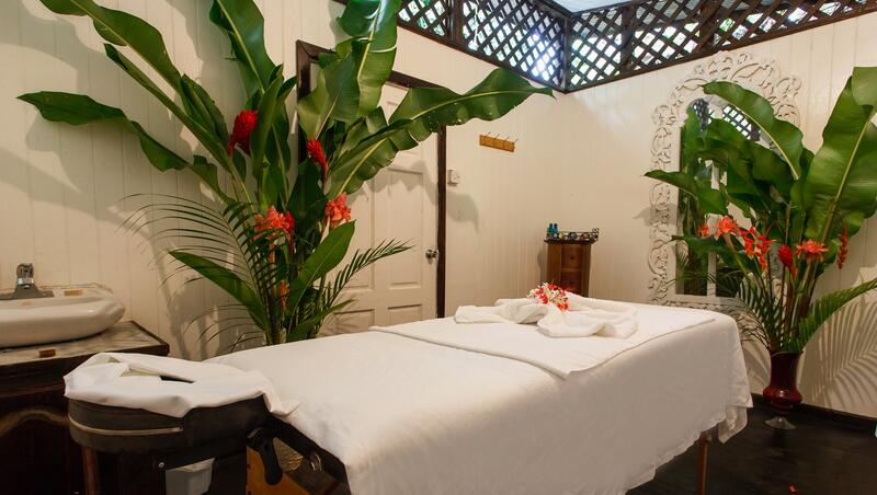 massage table with plants