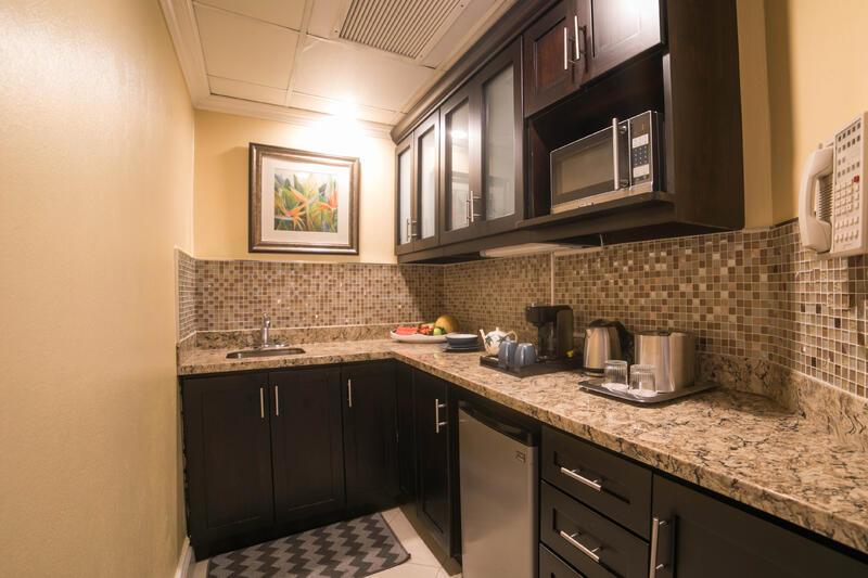 kitchenette in hotel room