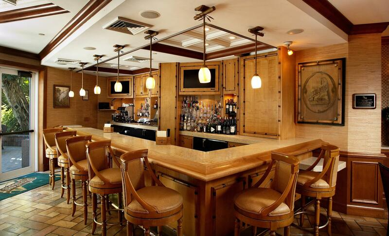 bar area with wooden stools