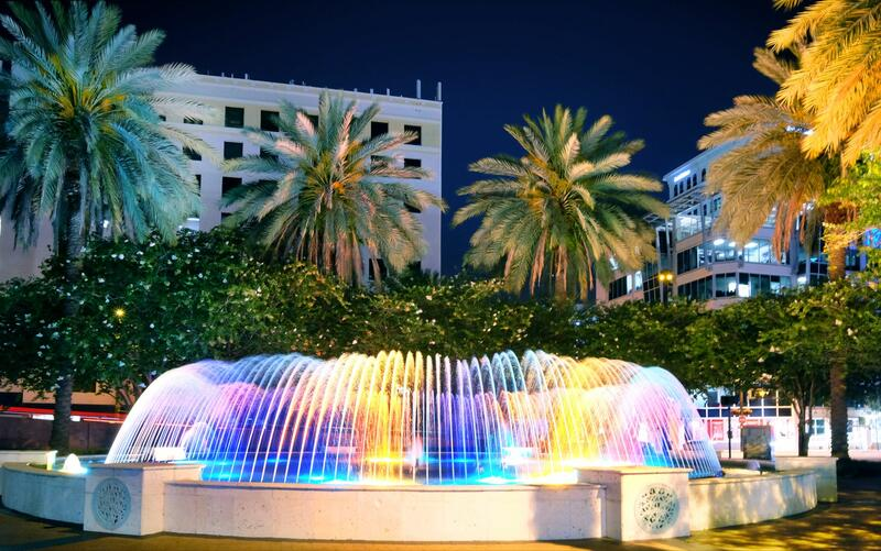 lit up fountain at night