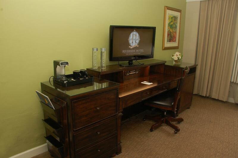 desk cabinets with a television