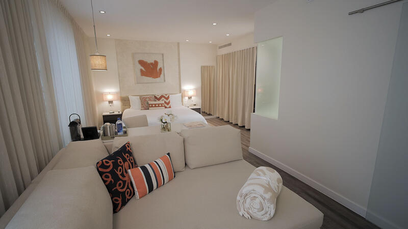 suite with couch and bed