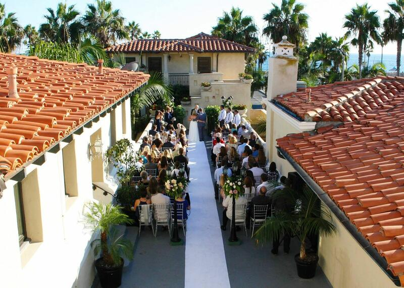 ceremony site with ocean views and guests