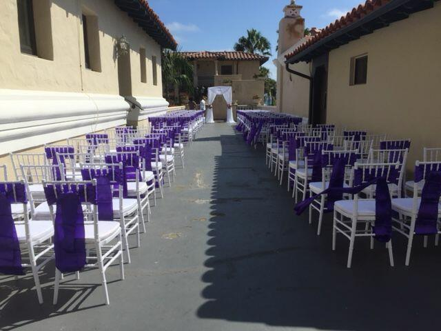 purple ceremony outside balboa inn
