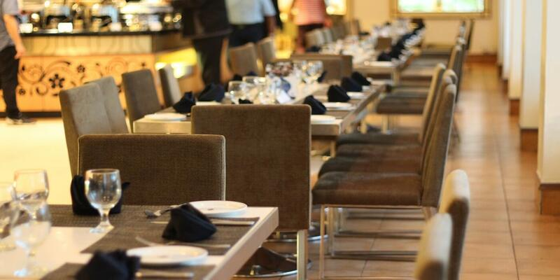 Close up of tables and chairs in a restaurant