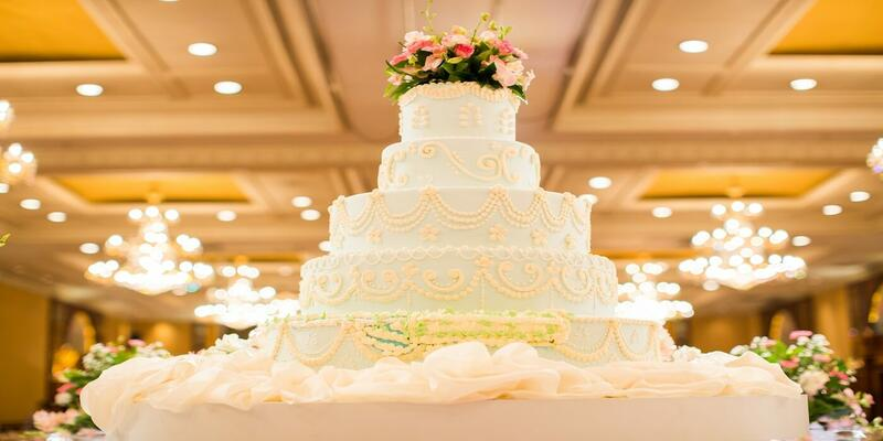 Wedding cake at banquet hall