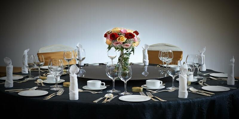 Western style set up of a dining table
