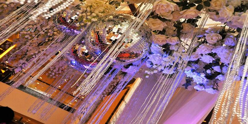 Wedding decorations featuring flowers and pearls