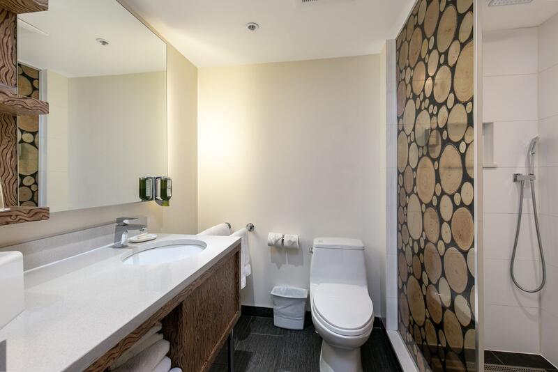 Hotel bathroom with luxury boutique amenities.